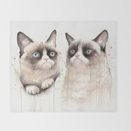 Grumpy Watercolor Cats Throw Blanket