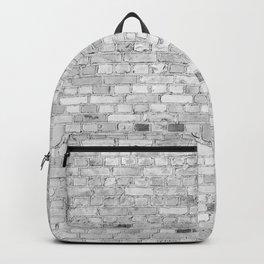 White Washed Brick Wall - Light White and Grey Wash Stone Brick Backpack