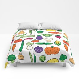 Cute Smiling Happy Veggies on white background Comforters