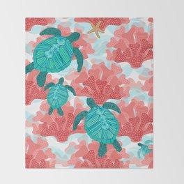 Sea Turtles in The Coral - Ocean Beach Marine Throw Blanket