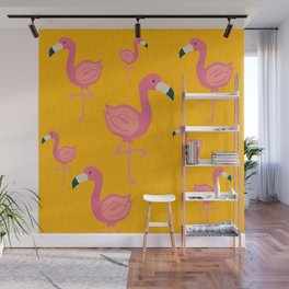 Flamingo party illustration Wall Mural