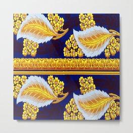 Golden Leaves Wallpaper Metal Print