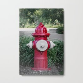 Red and White Mueller Super Centurion Fire Hydrant Fireplug Metal Print