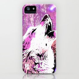 WOLF PINK MOON SHOOTING STARS iPhone Case