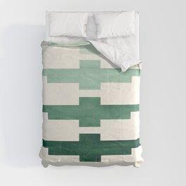 Mid Century Minimalist Ancient Aztec Inca Geometric Pattern Watercolor Deep Green Colorful Gouache Comforters