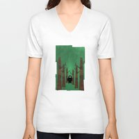 sasquatch V-neck T-shirts featuring Sasquatch in Trees by Ryan W. Bradley