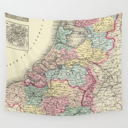 Vintage Map of Holland and Belgium (1856) Wall Tapestry