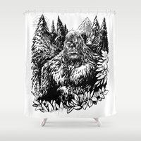 sasquatch Shower Curtains featuring PACIFIC NORTHWEST SASQUATCH by RAPIDPUNCHES