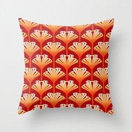 Art Deco Lily, Mandarin Orange and Gold Throw Pillow