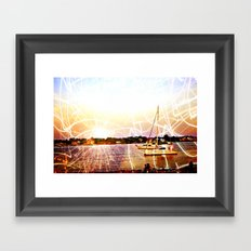 Boats and Lights Framed Art Print