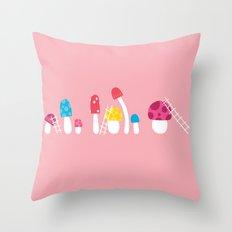 Mushroom Maintenance Pink Throw Pillow