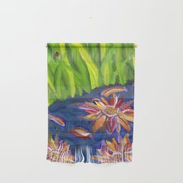 Flowers Float by Ladybug Grass Wall Hanging