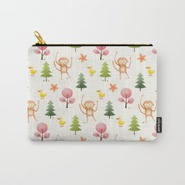 Pastel pink floral brown funny monkey yellow duck pattern Carry-All Pouch