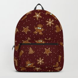 Gingerbread Pattern Red Backpack