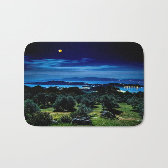 Night Sky By The Water Landscape Bath Mat