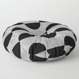 Black abstract 60s circles on concrete - Mix & Match with Simplicty of life Floor Pillow