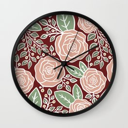 Pink roses Modern Floral Wall Clock