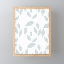 Autumn Leaves Pattern #7 #LightBlueGrey #White #foliage #decor #art #society6 Framed Mini Art Print