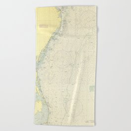 Vintage Cape May to Cape Hatteras Shipwrecks Map Beach Towel