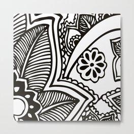 Floral Pattern | Black and White Metal Print