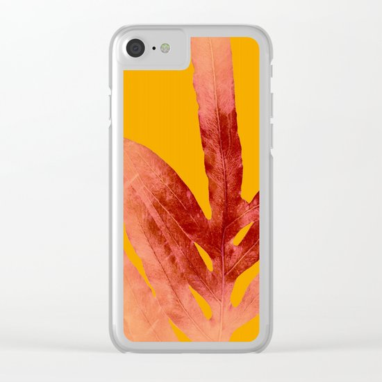Green Fern on Red On Fire Clear iPhone Case