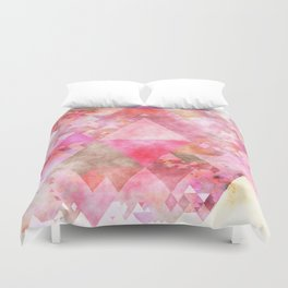Pink triangles - Abstract elegant watercolor pattern Duvet Cover