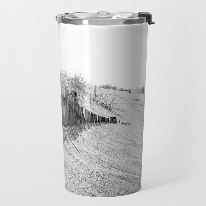 High Key Dunes and Fence Black and White Coastal Landscape Photograph Travel Mug