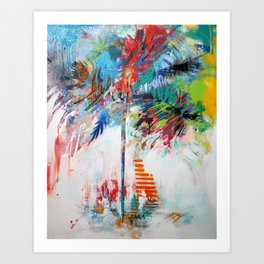 Orange and Blue Palm Tree, 2012 Art Print