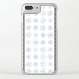 Light Snowfall, snowflakes in light blues and gray Clear iPhone Case