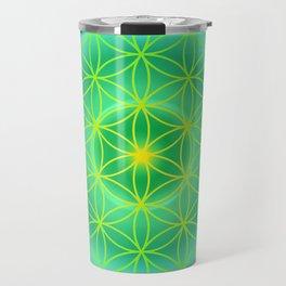 Flower Of Life Mandala - Green Travel Mug