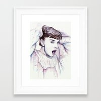 hepburn Framed Art Prints featuring Audrey Hepburn Watercolor by Olechka