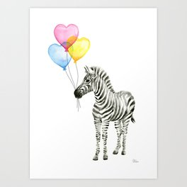 Zebra Watercolor With Heart Shaped Balloons Whimsical Baby Animals Art Print