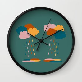 Colorful clouds and rain drops pattern Wall Clock