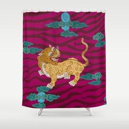 Foo Leopard on Magenta Shower Curtain