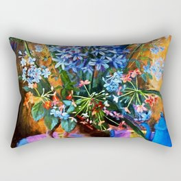 """Agapanthus and Plumbago"" by Margaret Olley Rectangular Pillow"
