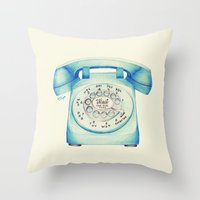 novelty Throw Pillows featuring Rotary Telephone - Ballpoint by One Curious Chip