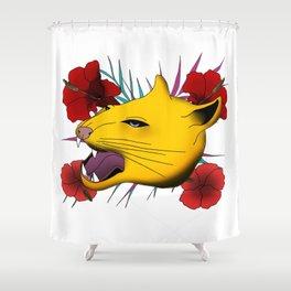 Flower Feline Shower Curtain