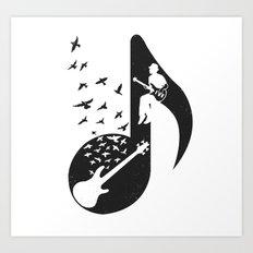 Musical - Bass Guitar Art Print