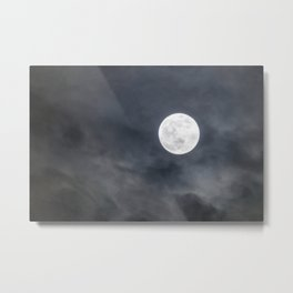 Full Moon with clouds at Night, Dramatic clouds in the moonlight Metal Print
