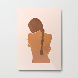 Minimal Female Figure Metal Print