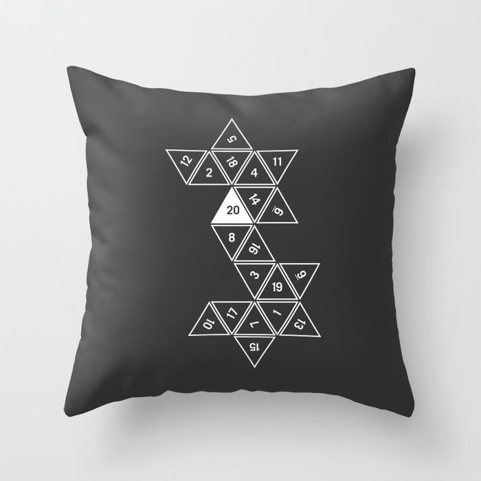 Unrolled D20 Throw Pillow