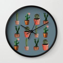 Various Cacti Blue Wall Clock