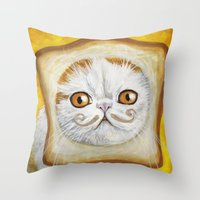 snoopy Throw Pillows featuring Snoopy aka Breadcat - Cats with Moustaches by Megan Mars