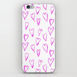 watercolor hearts iPhone Skin