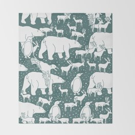 Polar gathering (emerald) Throw Blanket