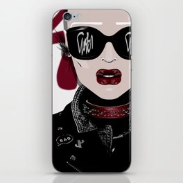 URBAN Shaved Head Girl Portrait with Black Perfecto iPhone Skin