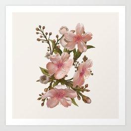 Blush Pink Watercolor Flowers Artwork Art Print