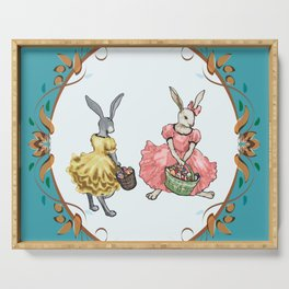 Dressed Easter bunnies 2a Serving Tray