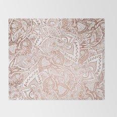 Chic hand drawn rose gold floral mandala pattern Throw Blanket