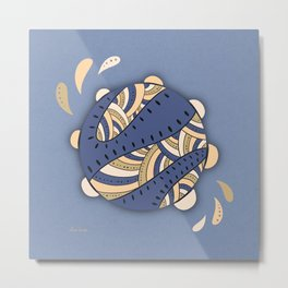 Music Fun / Tambourine / Brown & Blue Metal Print